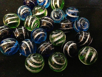 HOM Glass Marbles collectable 16mm Beautiful Handmade marble - Jet stream 3 tyes