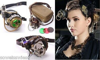 RQ-BL Steampunk LED Leder Monokel Brille Goggles Leather Gothic P102 Bronze Gold