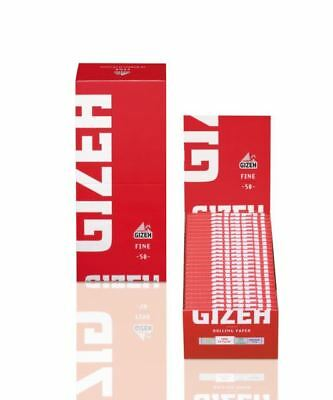 50 Booklets GIZEH FINE Rolling Paper Red Box 2500 Papers