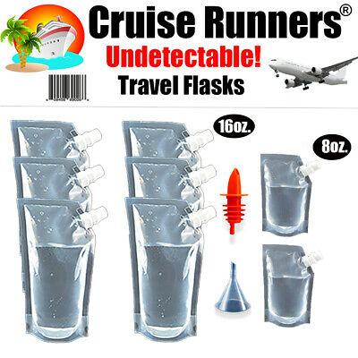 Cruise Ship Kit Flask 9 Pack Sneak Alcohol Runners Rum Liquor Smuggle Booze Wine