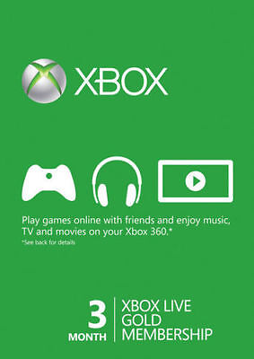 Xbox 360/One Live 3-Month Gold Membership Prepaid Code Instant Ship Exp. 3/31/19