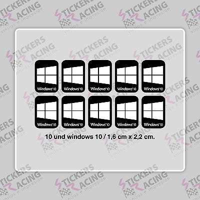 10 x WINDOWS 10  FOR PC LAPTOP HD QUALITY STICKER LOGO DECAL BADGE ADHESIVO