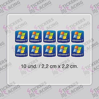 10  x WINDOWS 7 FOR PC LAPTOP HD QUALITY STICKER LOGO DECAL BADGE ADHESIVO