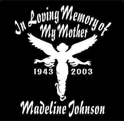 Angel In Loving Memory of Decals Two Personalized Name Dates Memorial Guardian
