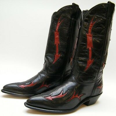 Womens Vtg Code West Black Red Leather Inlaid Cowboy Western Boots Sz 6.5~1/2 M
