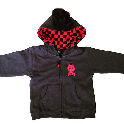Red & Black Skull Baby Hoodie With Mohican, Punk, Rock, Goth, Alternative