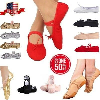 Girls Women Ballet Dance Yoga Gymnastics Canvas Slipper Shoe
