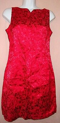 WOMENS BE SMART RED ORIENTAL ASIAN STYLE DRESS Sz 3/4