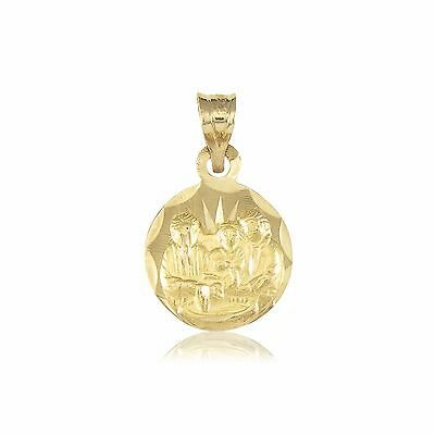 10K Solid Yellow Gold Baptism Round Medal Pendant -Necklace Charm Baby Men Women