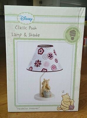 Disney Winnie Classic Pooh Dandelion Dreamer Lamp And Shade Pink Floral New