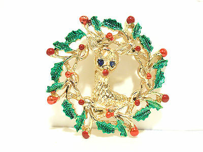 Vtg CHRISTMAS REINDEER Red Green WREATH CRYSTAL GOLD BROOCH PIN Signed GERRY'S