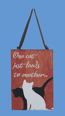 "Ksa Wooden Cat Plaque Ornament ""one Cat Just Leads To Another"""