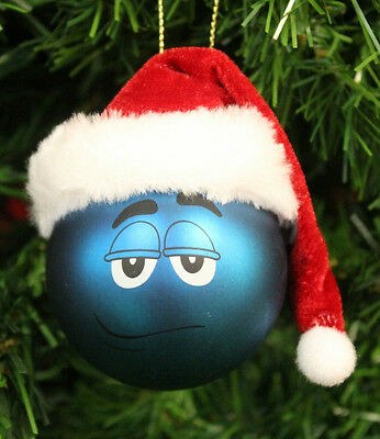 KURT S. ADLER M&M'S® BLUE BIG FACE BALL w/RED SANTA HAT CHRISTMAS TREE ORNAMENT