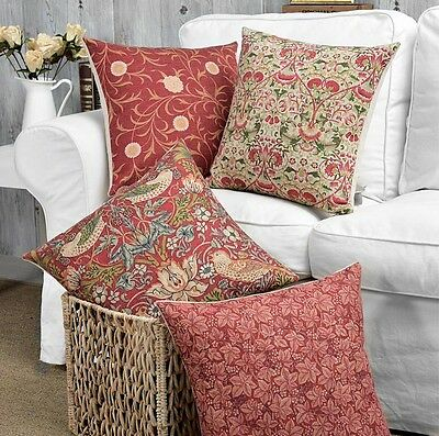 Retro Country Style Birds Lotus Flower Leaf Red Cushion Cover Throw Pillow Case