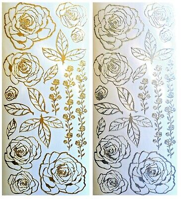 ROSES Peel Off Stickers Leaves Borders Leaf Floral Bloom Card Making Gold Silver
