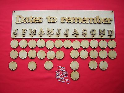 Birthday Plaque / Calendar  Kit -  Dates To Remember -Laser Cut Mdf