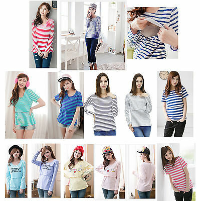 Basic striped cat pattern Cotton Long Sleeve maternity breastfeeding nursing Top