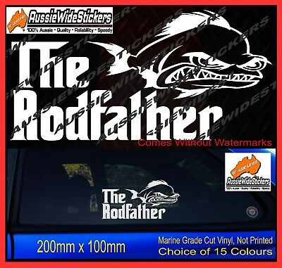 Funny Fishing Boat or 4x4 Car Stickers RODFATHER Also suits Tackle Box