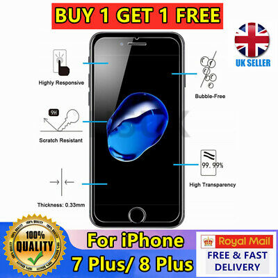 100% GENUINE TEMPERED GLASS SCREEN PROTECTOR PROTECTION FOR APPLE iPhone 7 Plus