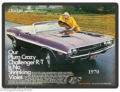 1970 Dodge Challenger Plum Convertible  Refrigerator / Tool Box Magnet Gift Item