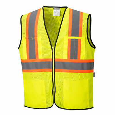 Reflective Vest Hi Vis Safety Work Vest ANSI Class 2 Pockets, Portwest US381