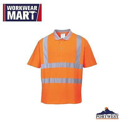 High Visibility Polo, Short Sleeve Shirt, Safety Work Reflective, Portwest RT22