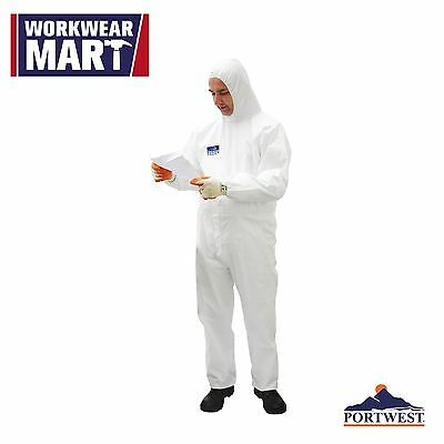 White Disposable Work Coverall Microporous Breathable 5/6 Suit, Portwest ST40