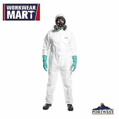 White Disposable Coverall SMS Type 5/6 Bunny Work Suit Hood Lab Portwest ST30