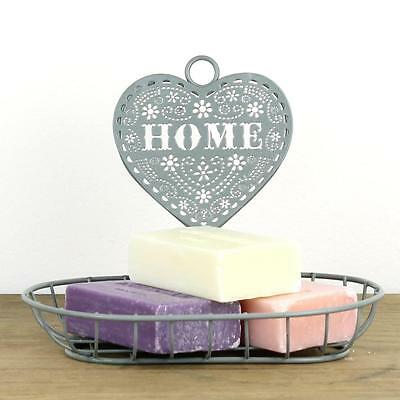 Heart soap dish vintage grey shabby chic country bathroom home holder storage