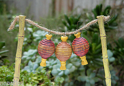Miniature Dollhouse FAIRY GARDEN Accessories ~ ZEN Lanterns on Post Pick ~ NEW