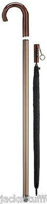 Harvy Crook Handle Aluminum Cane with Black Umbrella Inside Mens Walking Stick