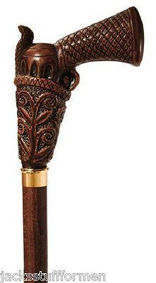 Concord Peacemaker Gun Handle Brown Wood Walking Stick Cane Made in Italy