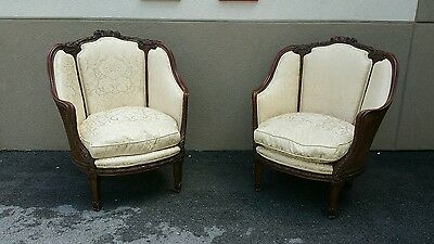 Impressive Turn Of Century Pair Of French Louis 16Th  Bergere Chairs