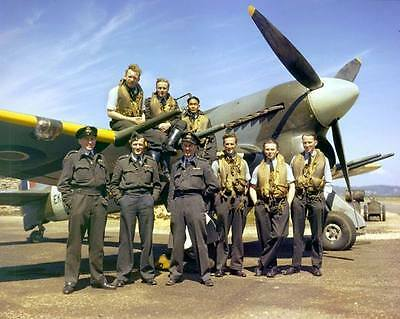 COLOR Photo British RAF Typhoon Fighter and Pilots 1943  WW2 Photo WWII  / 5148