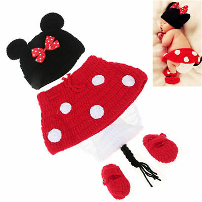 New Baby Infant Newborn Cute Mouse Knitwear Costume Photography Prop Crochet Hat
