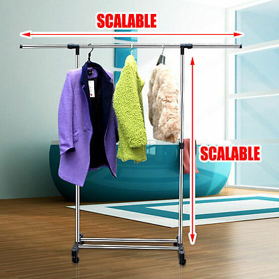 1/2 Portable Stainless Steel Clothes Cloth Coat Rack Hanger Garment Dryer Local