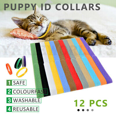 12x Color Whelping ID Collar Bands Pet Puppy Kitten Identification Collar Tags