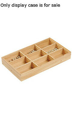 """New 9 Section Natural Wood Finished Tray 15""""L x 8 1/2""""W x 2""""D"""