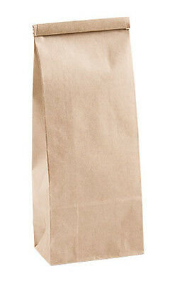 """Count of 50 New Retail Large Kraft Tin Tie Bags 4-¼""""W x 2-½""""D x 10-½""""H"""