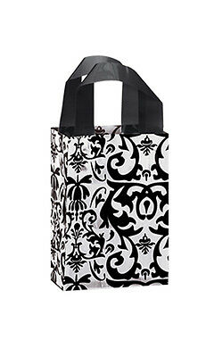 """Count of 100 Bags Small Black Damask Frosted Plastic Shopping Bag 5""""x3""""x7"""""""