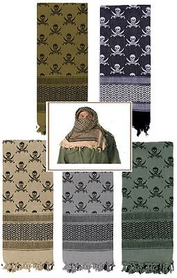 "Shemagh ""Crossed Swords & Skull"" Heavyweight Tactical Desert Keffiyeh Scarf 8539"