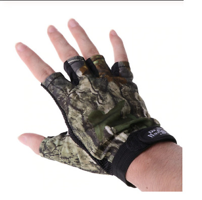 Real Tree Camo camouflage Fishing Hunting semi fingerless Gloves UK