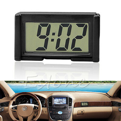 Car Auto Interior Desk Dashboard LCD Screen Digital Clock Self-Adhesive Bracket