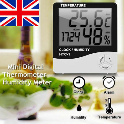 Digital LCD Temperature Humidity Hygrometer Room Indoor Thermometer Clock UK