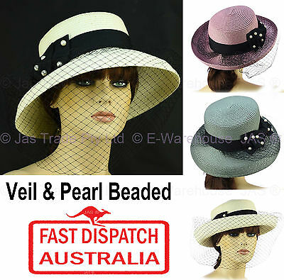 Spring Racing Carnival Evening Wedding Church Event Fishnet Mesh Veil Sun Hat