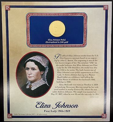 """(2011) Eliza Johnson """"First Spouse"""" bronze medal, 24 kt gold electroplated!"""