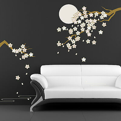 Decoration Moonlight Cherry Decal Mural Art Wall Stickers Blossom 270cm x 220cm