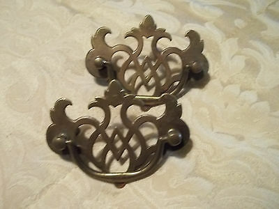 "Matching Pair of 2 1/2"" Mount Unpolished Brass Drawer Pulls, Free S/H"