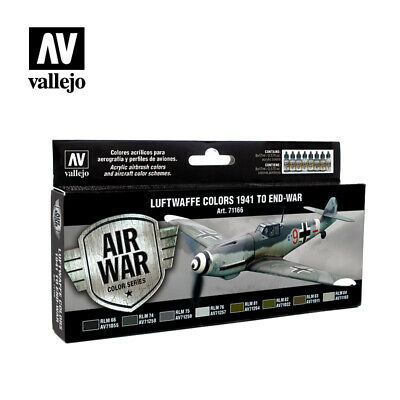 Vallejo Model Air Paint Set - Luftwaffe Colors 1941 to End-War (8 x 17ml) 71166