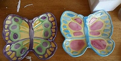 Set of 2 Fitz and Floyd Painting Easter Eggs Butterfly Dishes 2004 NIB